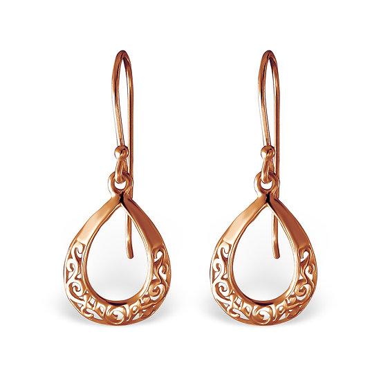 Rose Gold over Sterling Silver Teardrop Earrings