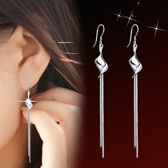 Long Tassel Silver Plated Exaggerated Twisted Earrings