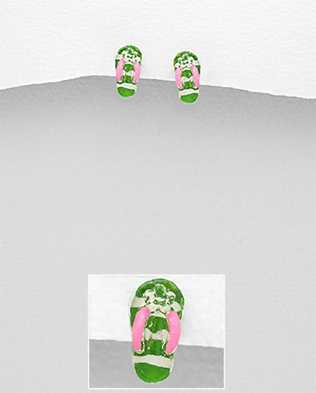 SS Flip Flop & Sandal Push-Back Earrings Decorated With Colored Enamel & Plastic