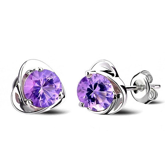 Silver Plated Ear Stud Heart Shape Earrings