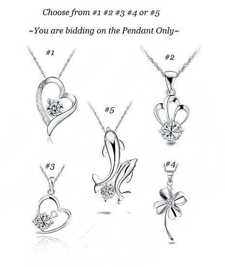 5 Styles 925 Sterling Silver Jewelry Heart Dolphin Cubic Zirconia CZ Animal Pend