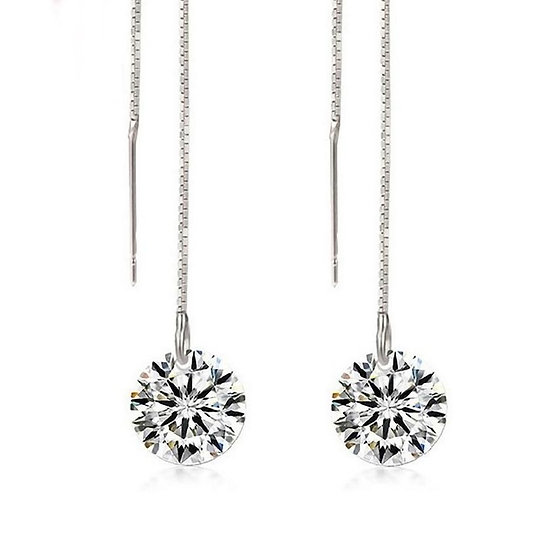 Threader Dangle Earrings With 1ct Simulated Diamond