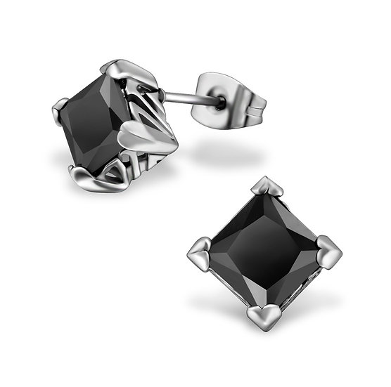 Jeweled Surgical Steel Gothic Ear Studs with Cubic Zirconia