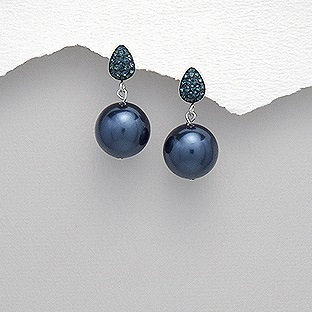 Push Back Silver Ball Earrings with Simulated Pearls & Crystal Glass