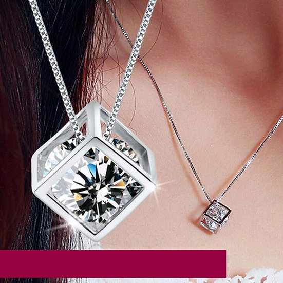 Womens 925 Sterling Silver Cut Cubic Zirconia Pendant Necklace