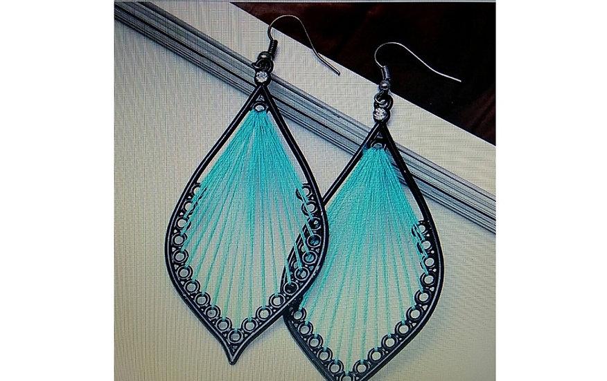 "Thread Dangle Earrings with Rhinestones 3"" X 1 1/2"""