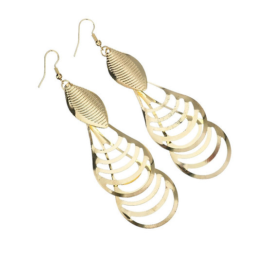 Punk Style Hollow-out Long Drop Earrings Gold or Silver Plated