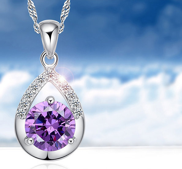 Crystal Water Drop Pendant Silver Plated