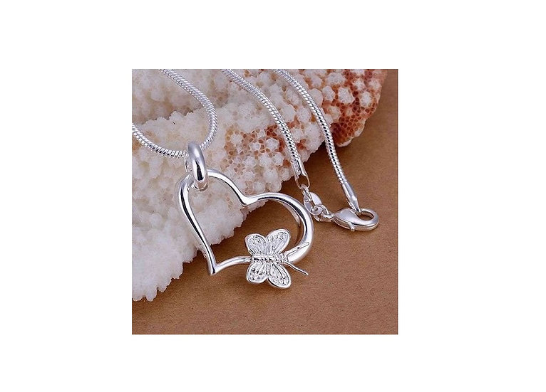 """Heart Butterfly Pendent Silver Plated with 18 """" Snake Chain"""