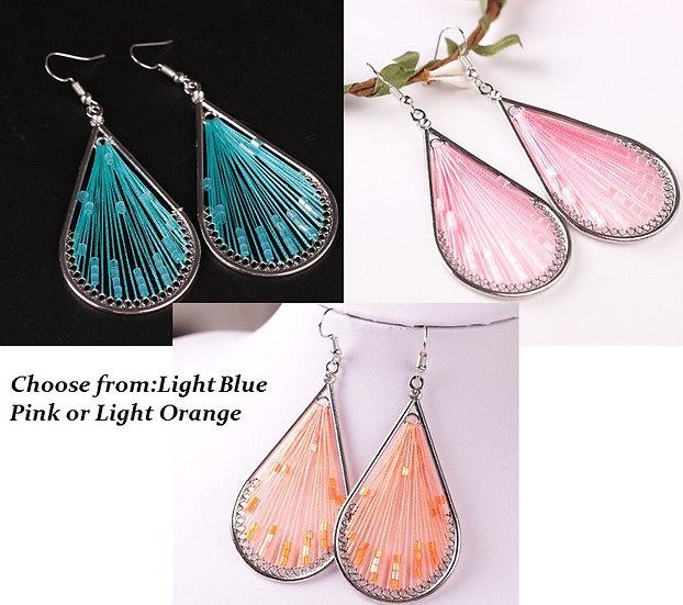High Quality 3 Style Fashion Charm Handcraft Silk Thread Dangle Earrings