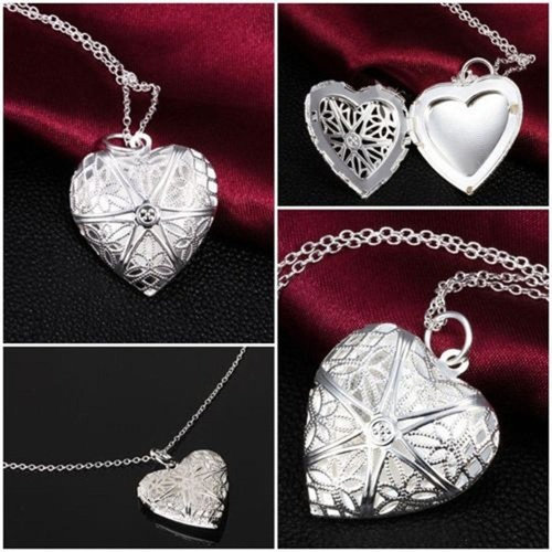 Silver Photo Frame Locket Pendant and Necklace