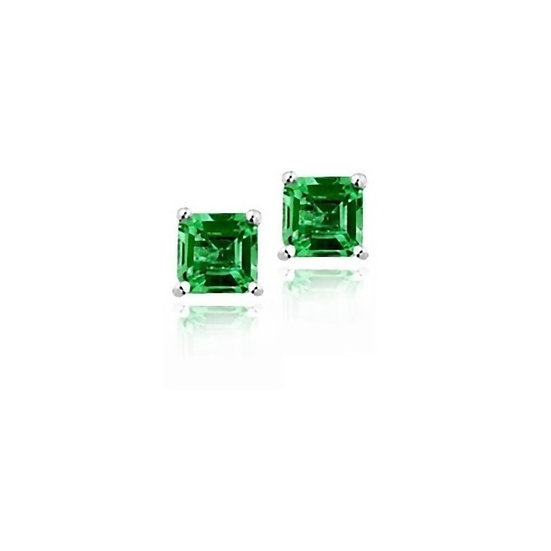 Lab Created Nano Emerald Sterling Silver Stud Earrings 0.6ct