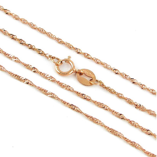 18K Rose Gold Over Italian Sterling Silver 1.7 mm Singapore