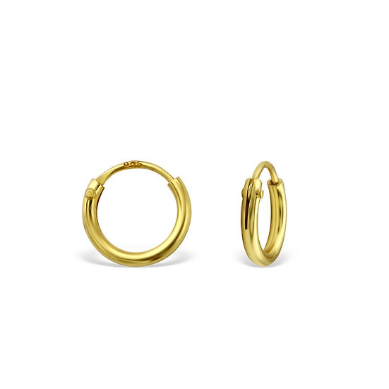 Gold over Silver 10mm or 8mm Ear Hoops