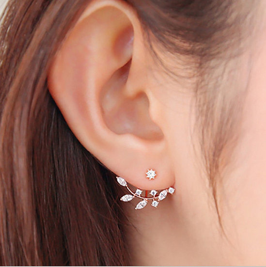Fashion Lady Crystal Leaf Ear Jacket Earrings Silver Plated or Gold Plated Back