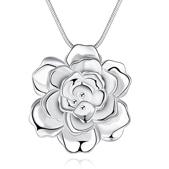 Flower Design Pendant with Silver Snake Necklace