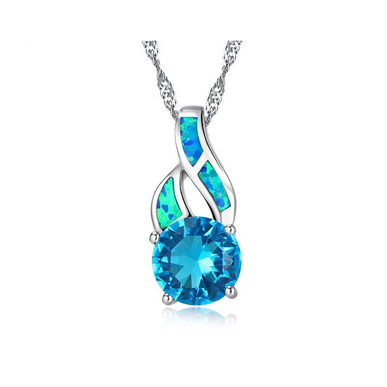 925 Sterling Silver Blue Fire Opal and Austrian Crystal Pendant