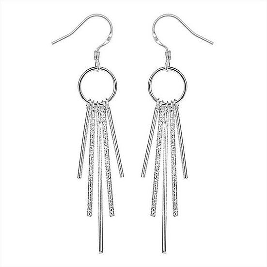 Silver Drop Crystals Earring
