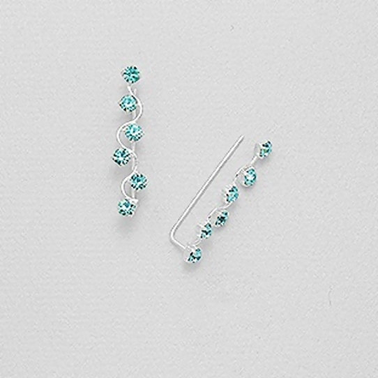 925 Sterling Silver Ear Pins with Crystals
