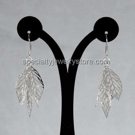 925 Sterling Silver Filled Brass Openwork Leaf Dangle Earrings