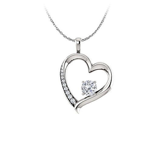 Rhodium Plate 925 Sterling Silver Heart Cubic Zirconia CZ Pendant