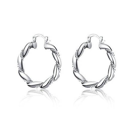 Silver Plated Twisted Rope Earrings
