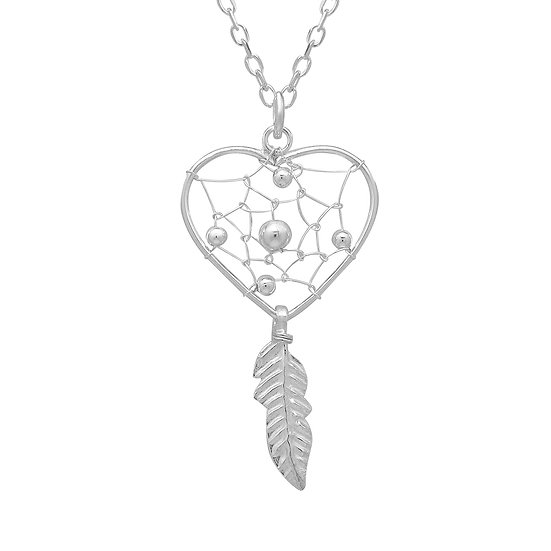 "925 Sterling Silver Dream Catcher Pendant with 18"" Box Chain"