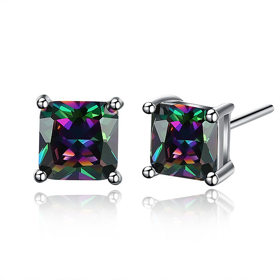 Sparkling Square Stud Earring White Gold Plate