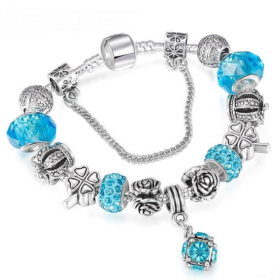 European Style Vintage Silver plated Crystal Charm Bracelet