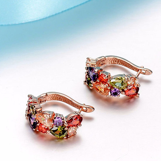 Rainbow Mosaic Cubic Zirconia Earrings