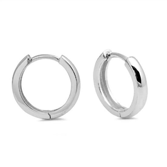 Silver Round Tube Huggie Earrings