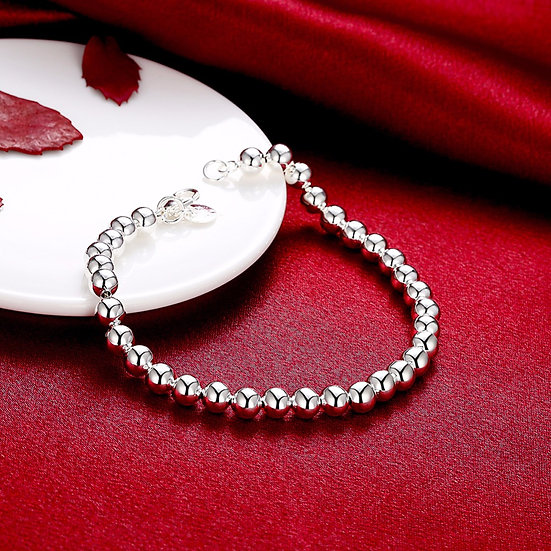 High Quality Silver Plated 6MM CHAIN 925 Bead Bracelet