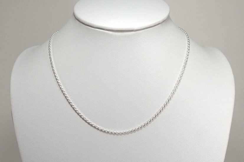 """925 Sterling Silver Rope Chain 16"""" 18"""" 20"""" 22"""" 24"""" 1.5 MM"""