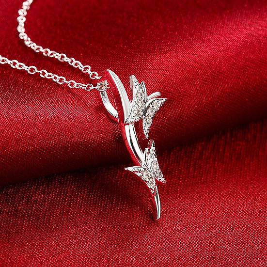 Butterfly Pendant with Silver O Ring Necklace