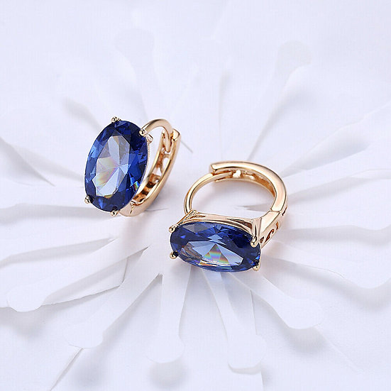 Blue Sapphire Earrings Gold Plated