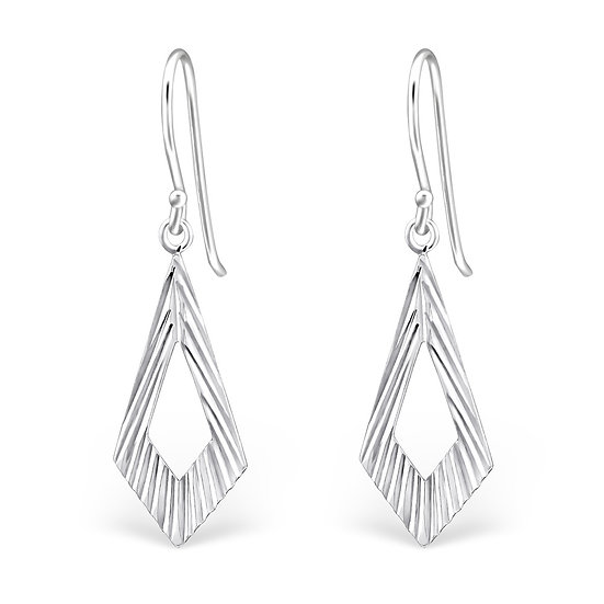 925 Sterling Silver Diamond Cut Earrings