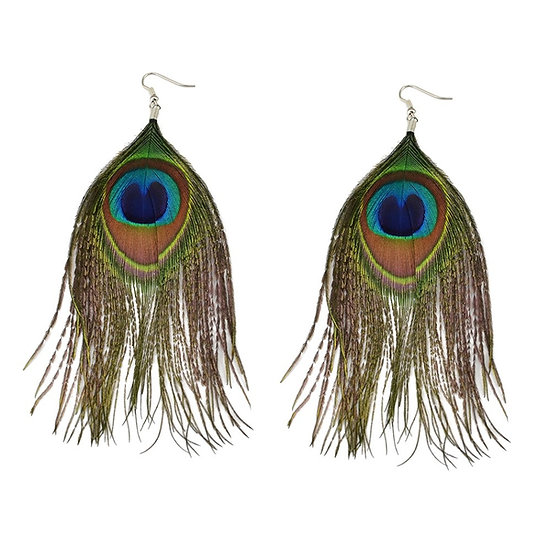 Wonderful Blue Real Peacock Long Feather Earrings