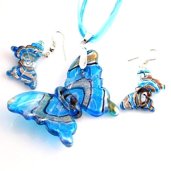 Butterfly Foil Venetian Murano Glass Pendants And Earrings