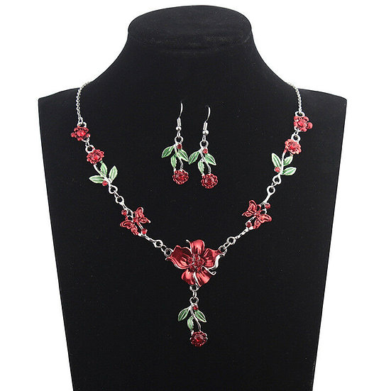 Rhinestone Flower Earrings & Necklace