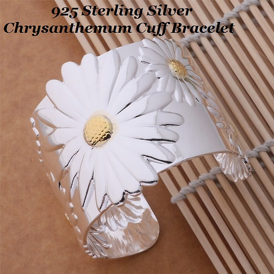 Sterling Silver Plated Chrysanthemum Cuff Bracelet