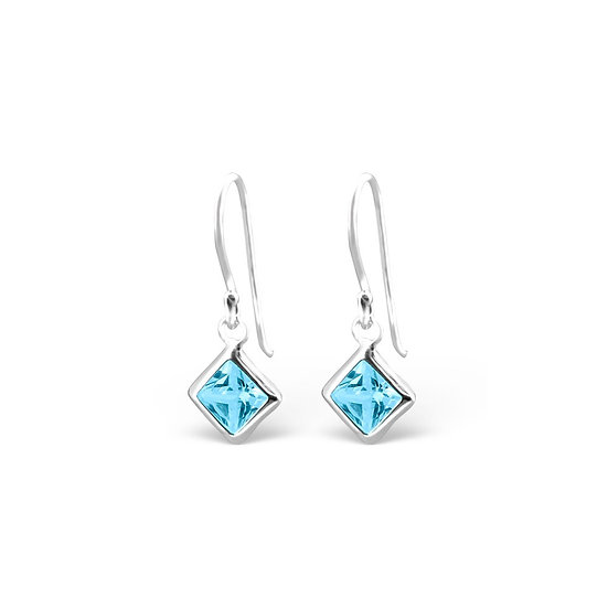 Silver Square Earrings with Aqua Cubic Zirconia