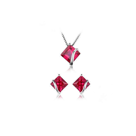 Square 2.8ct Created Red Ruby Stud Earrings Sterling Silver