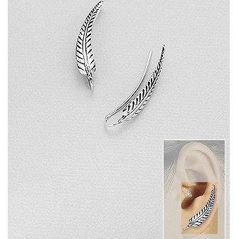 925 Sterling Silver Leaf Ear Pins