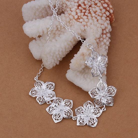"""Silver Flower Necklace 18"""", Earrings or Bracelet"""