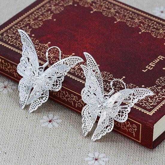 Silver Plated Crystal Butterfly Hook Earrings Or Neckalce