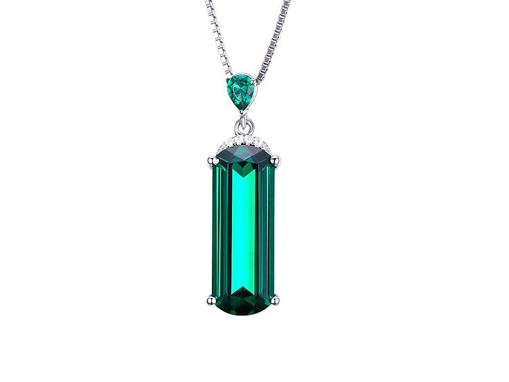 6ct Nano Russian Emerald Pendant 925 Solid Sterling Silver