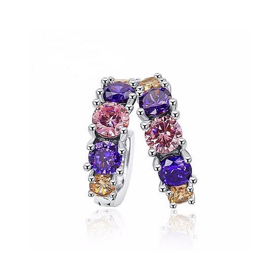 925 Sterling Silver Circle Hoop Earrings Colorful Cubic Zirconia Crystal