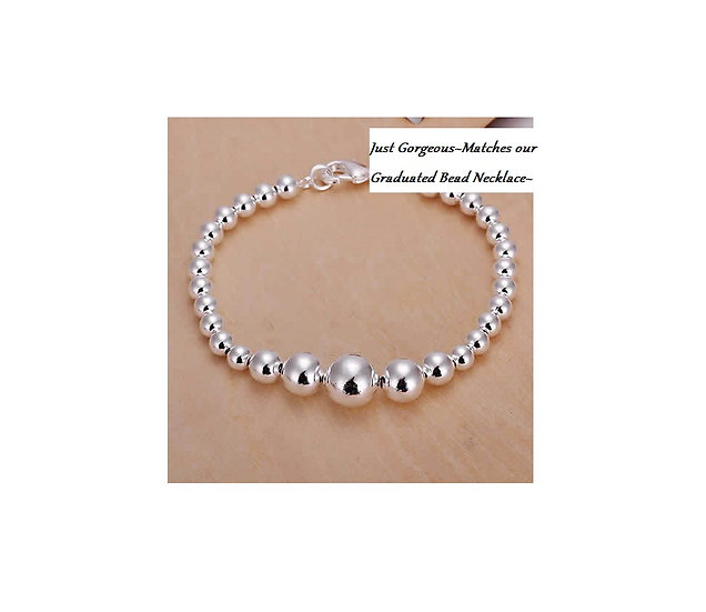 High Quality Silver Plated Graduated Bead Bracelet