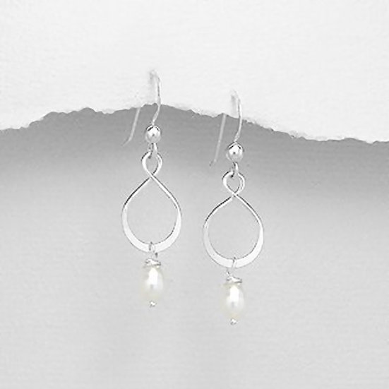 Sterling Silver Infinity Earrings with Pearls