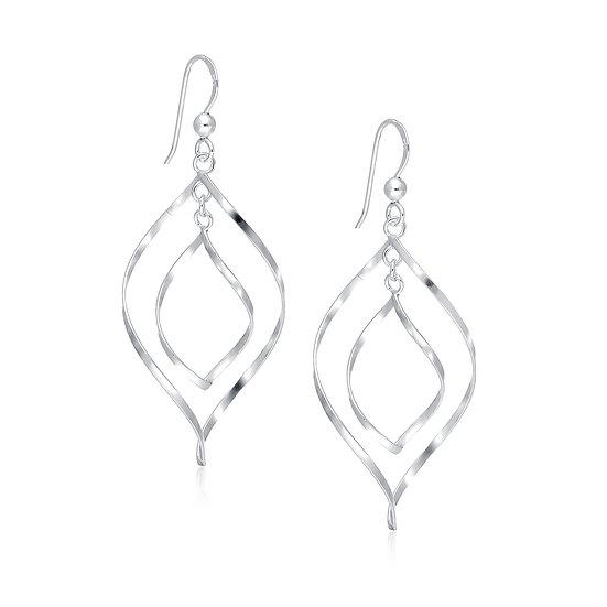 925 Sterling Silver Hook Oval Links Earrings